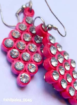 Quilled Rings Earrings Pink With Crystals